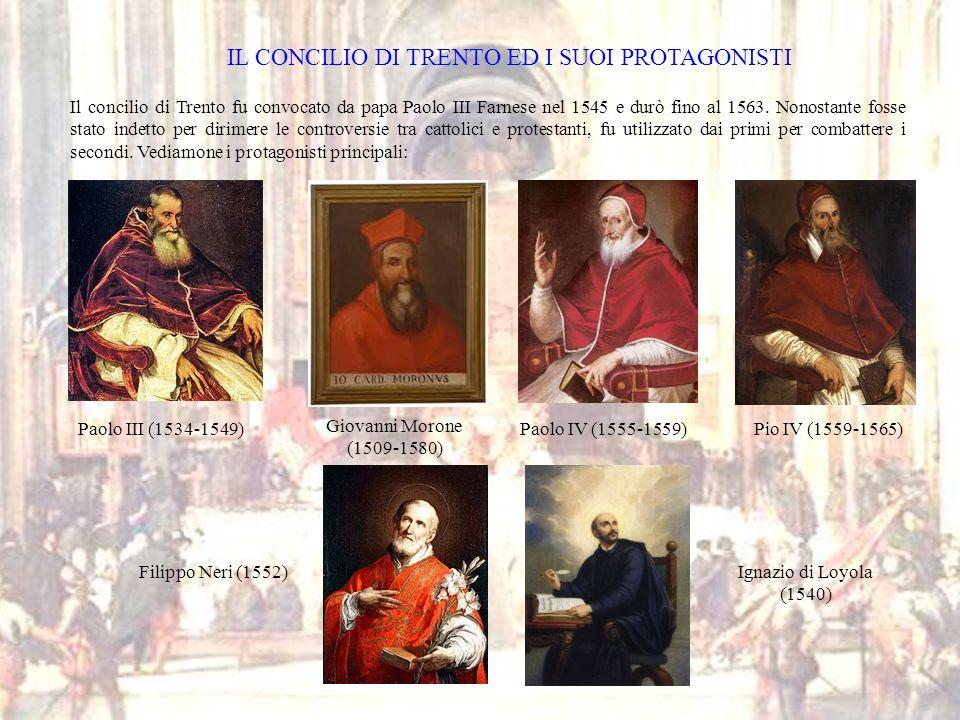 IL CONCILIO DI TRENTO ED I SUOI PROTAGONISTI Il concilio di Trento fu convocato da papa Paolo III Farnese nel 1545 e durò fino al 1563. Nonostante fos