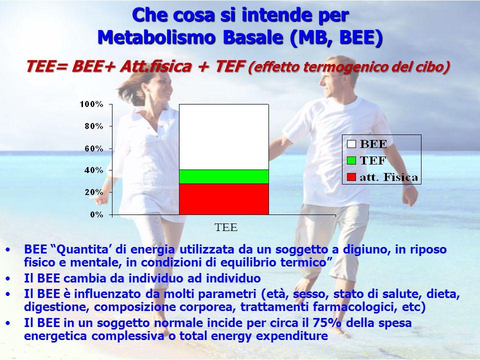 BEE Quantita di energia utilizzata da un soggetto a digiuno, in riposo fisico e mentale, in condizioni di equilibrio termico Il BEE cambia da individu