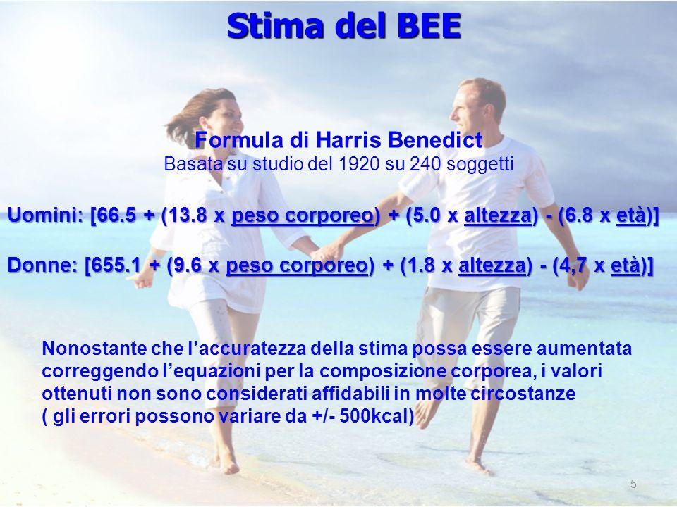 5 Formula di Harris Benedict Basata su studio del 1920 su 240 soggetti Uomini: [66.5 + (13.8 x peso corporeo) + (5.0 x altezza) - (6.8 x età)] Donne:
