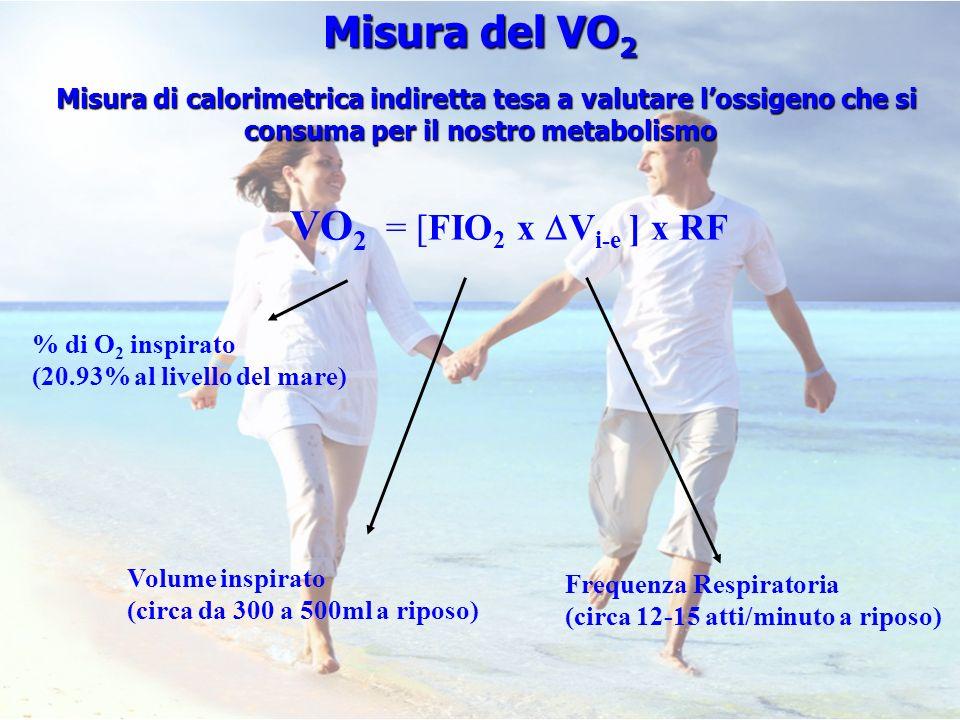 VO 2 = [FIO 2 x V i-e ] x RF Volume inspirato (circa da 300 a 500ml a riposo) % di O 2 inspirato (20.93% al livello del mare) Misura del VO 2 Misura d