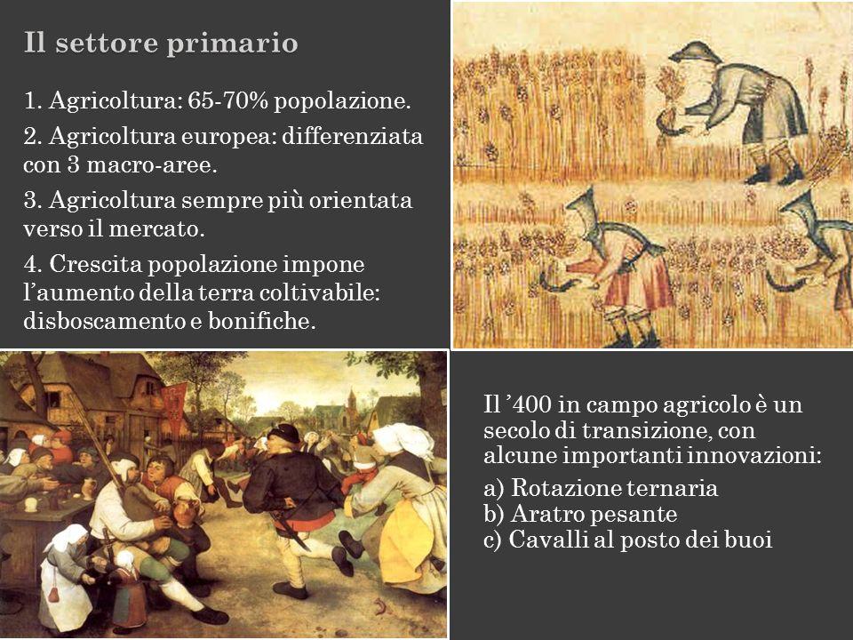 1. Agricoltura: 65-70% popolazione. 2. Agricoltura europea: differenziata con 3 macro-aree. 3. Agricoltura sempre più orientata verso il mercato. 4. C