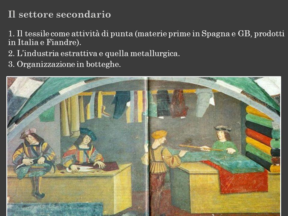 Il settore secondario 1. Il tessile come attività di punta (materie prime in Spagna e GB, prodotti in Italia e Fiandre). 2. Lindustria estrattiva e qu