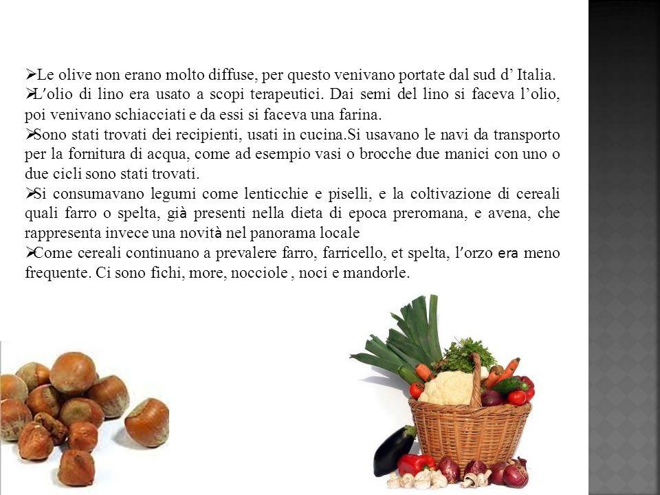 Le olive non erano molto diffuse, per questo venivano portate dal sud d Italia. L olio di lino era usato a scopi terapeutici. Dai semi del lino si fac