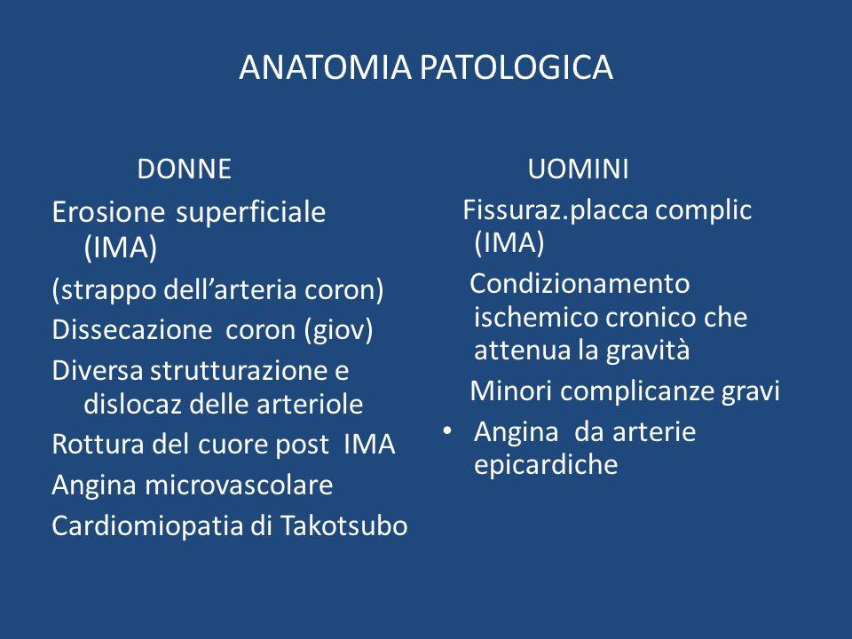 ANATOMIA PATOLOGICA DONNE Erosione superficiale (IMA) (strappo dellarteria coron) Dissecazione coron (giov) Diversa strutturazione e dislocaz delle ar