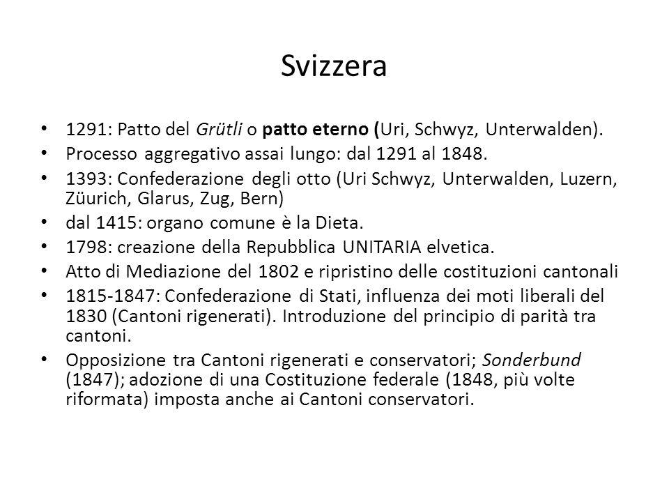 Svizzera 1291: Patto del Grütli o patto eterno (Uri, Schwyz, Unterwalden). Processo aggregativo assai lungo: dal 1291 al 1848. 1393: Confederazione de