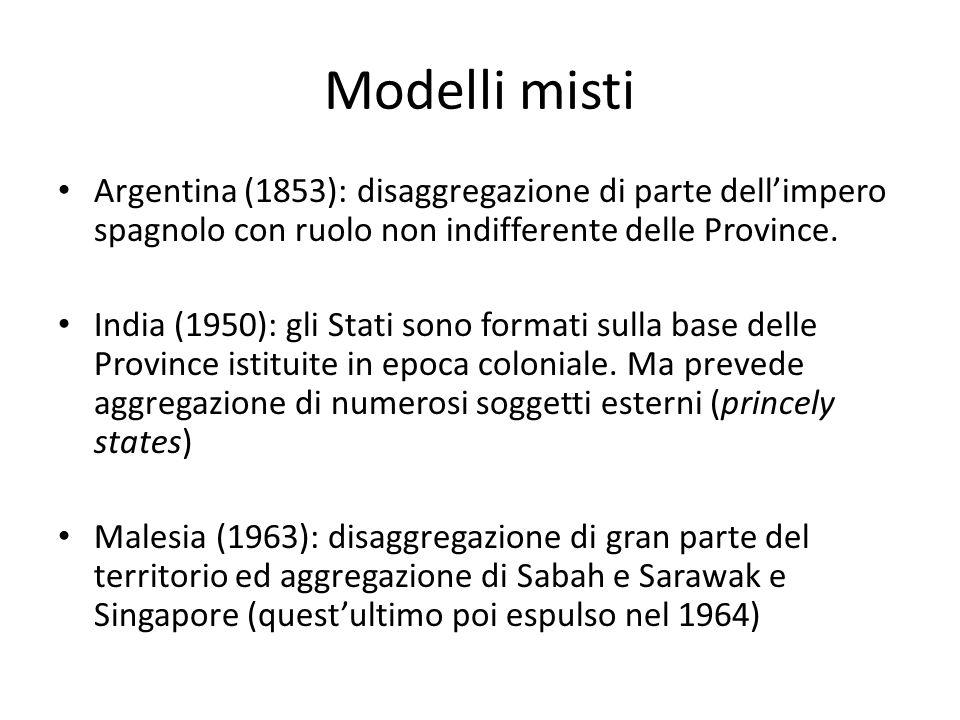 Modelli misti Argentina (1853): disaggregazione di parte dellimpero spagnolo con ruolo non indifferente delle Province. India (1950): gli Stati sono f