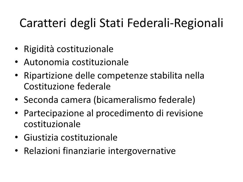 Caratteri degli Stati Federali-Regionali Rigidità costituzionale Autonomia costituzionale Ripartizione delle competenze stabilita nella Costituzione f