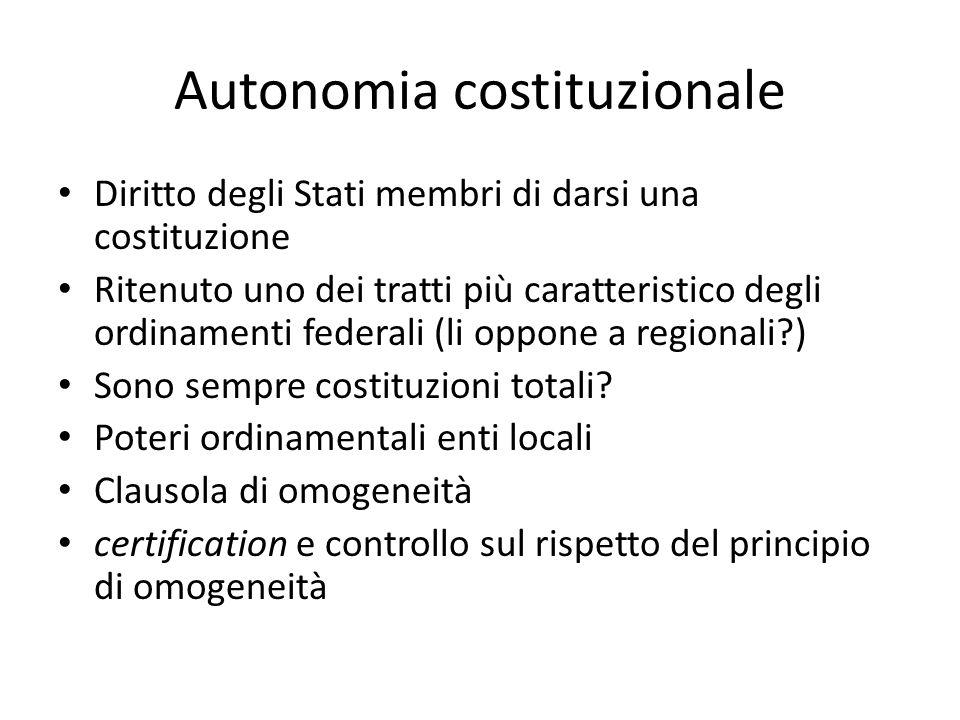 Autonomia costituzionale Diritto degli Stati membri di darsi una costituzione Ritenuto uno dei tratti più caratteristico degli ordinamenti federali (l