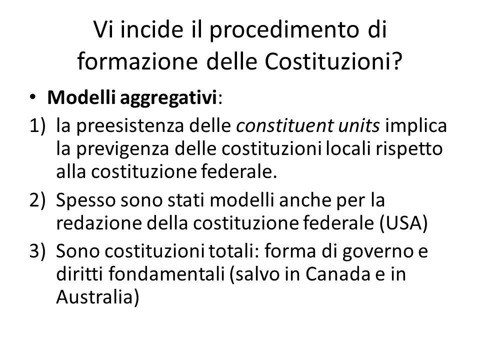 Vi incide il procedimento di formazione delle Costituzioni? Modelli aggregativi: 1)la preesistenza delle constituent units implica la previgenza delle