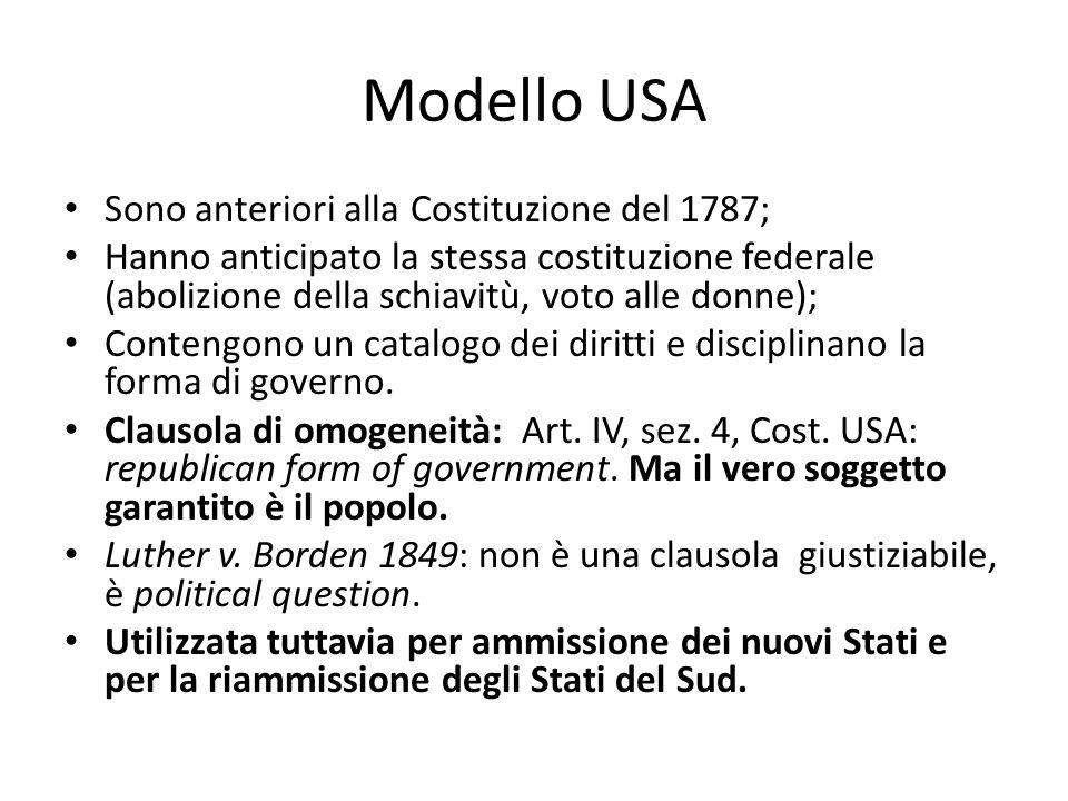 Modello USA Sono anteriori alla Costituzione del 1787; Hanno anticipato la stessa costituzione federale (abolizione della schiavitù, voto alle donne);