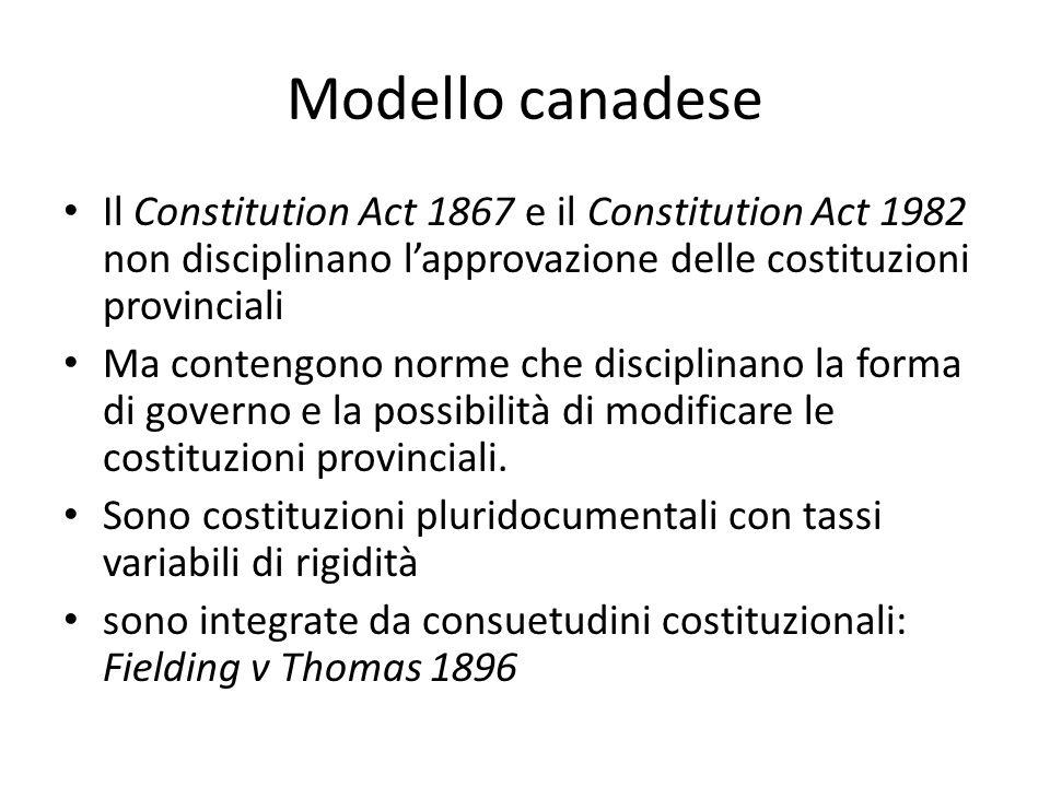 Modello canadese Il Constitution Act 1867 e il Constitution Act 1982 non disciplinano lapprovazione delle costituzioni provinciali Ma contengono norme