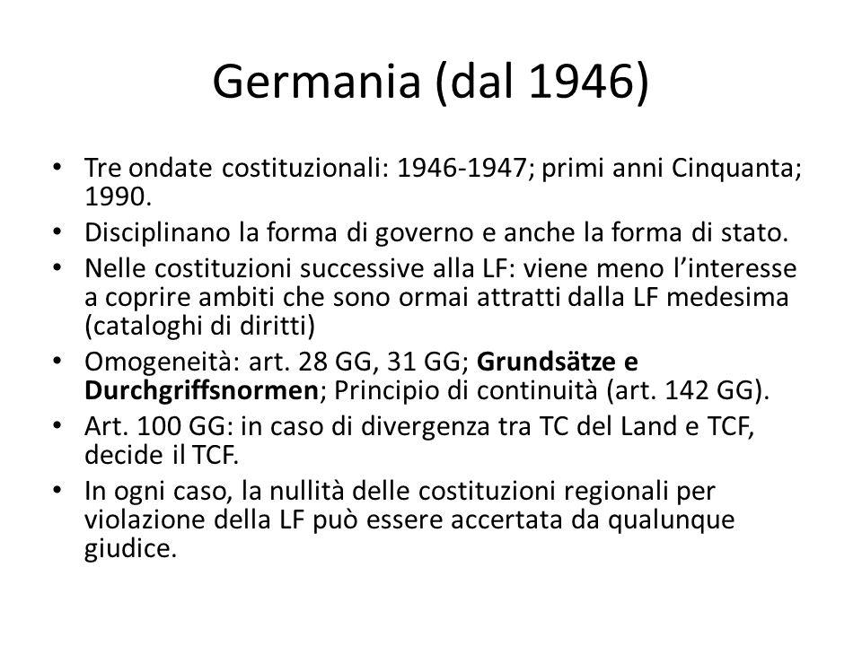 Germania (dal 1946) Tre ondate costituzionali: 1946-1947; primi anni Cinquanta; 1990. Disciplinano la forma di governo e anche la forma di stato. Nell