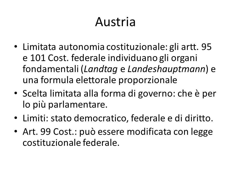 Austria Limitata autonomia costituzionale: gli artt. 95 e 101 Cost. federale individuano gli organi fondamentali (Landtag e Landeshauptmann) e una for