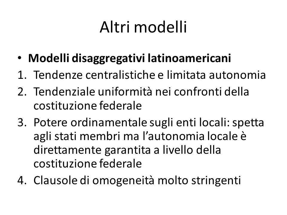 Altri modelli Modelli disaggregativi latinoamericani 1.Tendenze centralistiche e limitata autonomia 2.Tendenziale uniformità nei confronti della costi