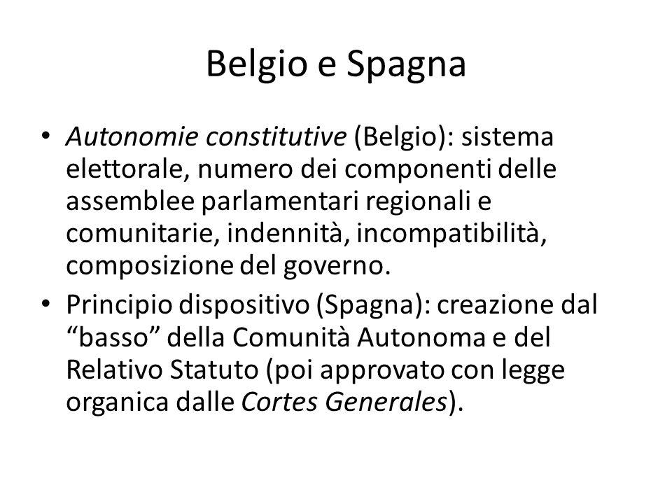 Belgio e Spagna Autonomie constitutive (Belgio): sistema elettorale, numero dei componenti delle assemblee parlamentari regionali e comunitarie, inden