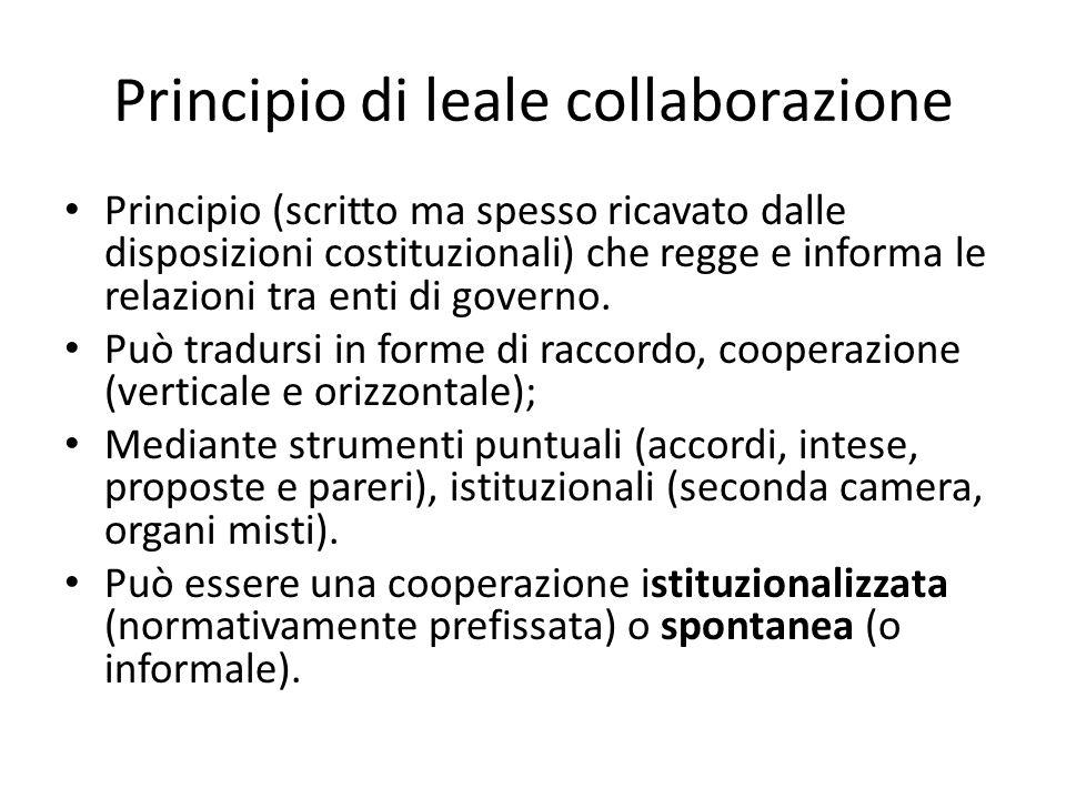 Principio di leale collaborazione Principio (scritto ma spesso ricavato dalle disposizioni costituzionali) che regge e informa le relazioni tra enti d