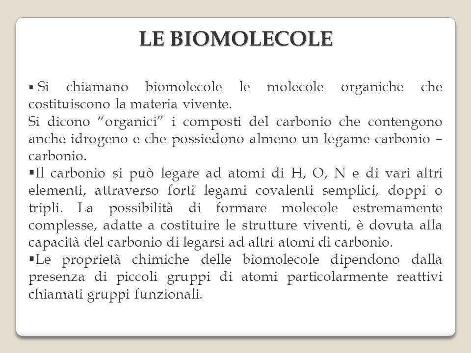 Si chiamano biomolecole le molecole organiche che costituiscono la materia vivente. Si dicono organici i composti del carbonio che contengono anche id