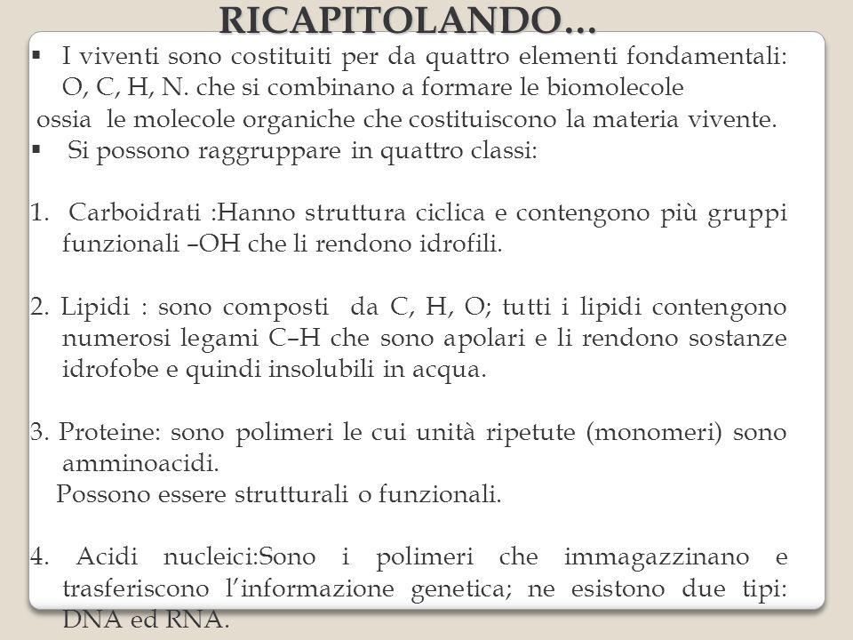 RICAPITOLANDO… I viventi sono costituiti per da quattro elementi fondamentali: O, C, H, N. che si combinano a formare le biomolecole ossia le molecole