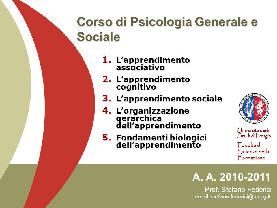 Prof. Stefano Federici email: stefano.federici@unipg.it A. A. 2010-2011 Università degli Studi di Perugia Facoltà di Scienze della Formazione Corso di