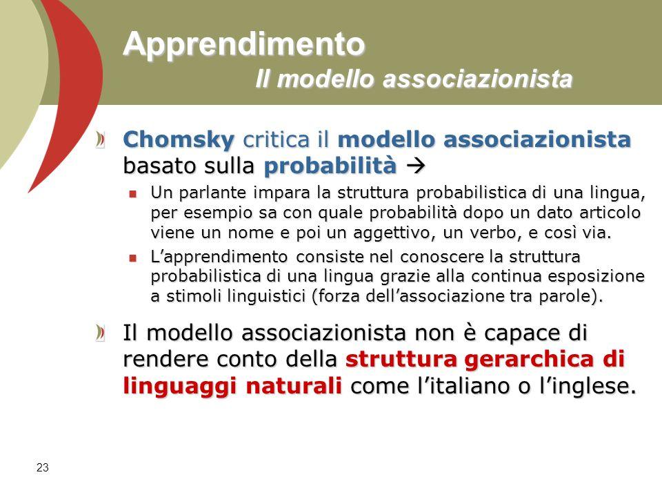 23 Apprendimento Il modello associazionista Chomsky critica il modello associazionista basato sulla probabilità Chomsky critica il modello associazion