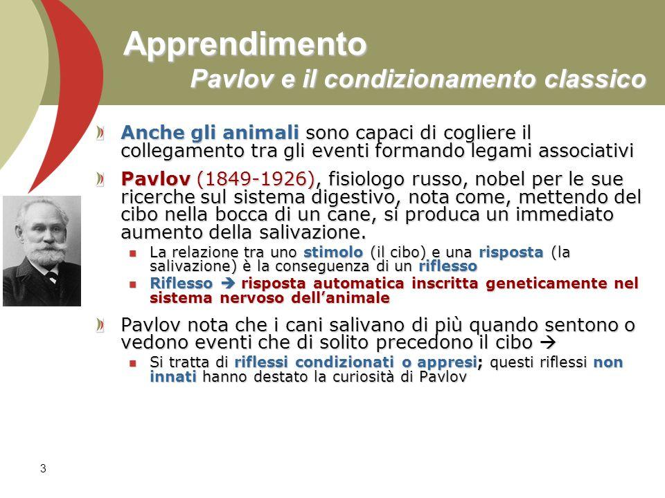 3 Apprendimento Pavlov e il condizionamento classico Anche gli animali sono capaci di cogliere il collegamento tra gli eventi formando legami associat