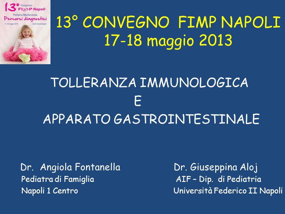 13° CONVEGNO FIMP NAPOLI 17-18 maggio 2013 TOLLERANZA IMMUNOLOGICA E APPARATO GASTROINTESTINALE Dr. Angiola Fontanella Dr. Giuseppina Aloj Pediatra di