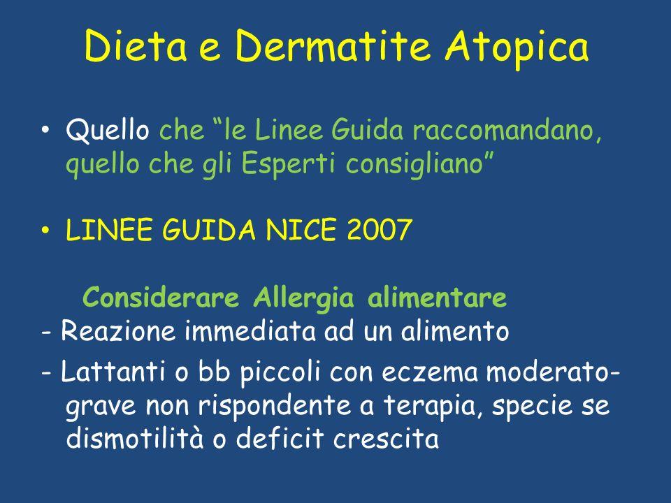 Dieta e Dermatite Atopica Quello che le Linee Guida raccomandano, quello che gli Esperti consigliano LINEE GUIDA NICE 2007 Considerare Allergia alimen