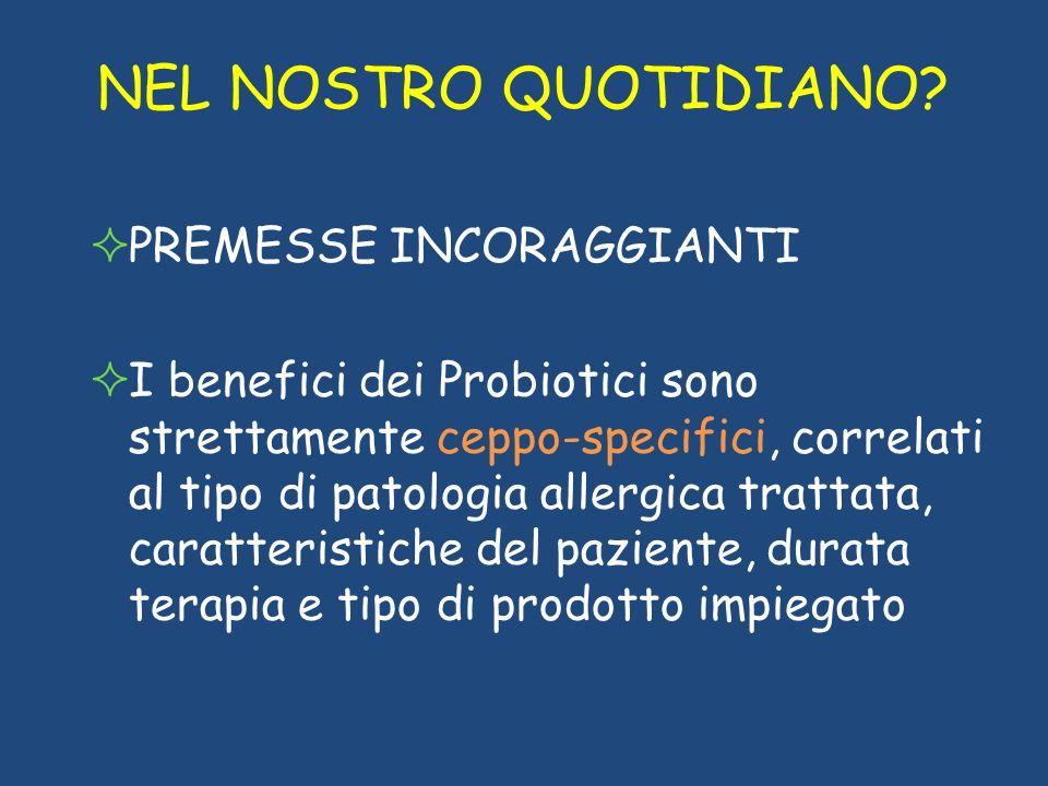 NEL NOSTRO QUOTIDIANO? PREMESSE INCORAGGIANTI I benefici dei Probiotici sono strettamente ceppo-specifici, correlati al tipo di patologia allergica tr