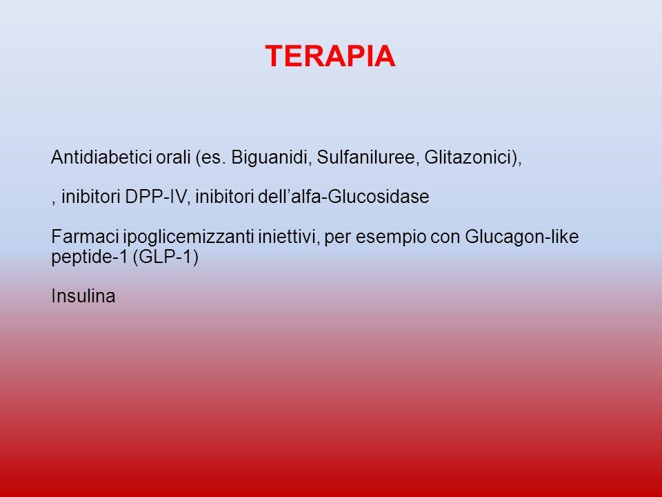 Antidiabetici orali (es. Biguanidi, Sulfaniluree, Glitazonici),, inibitori DPP-IV, inibitori dellalfa-Glucosidase Farmaci ipoglicemizzanti iniettivi,