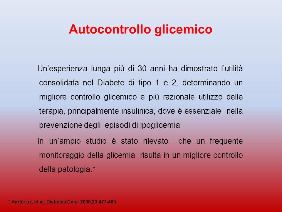 Autocontrollo glicemico Unesperienza lunga più di 30 anni ha dimostrato lutilità consolidata nel Diabete di tipo 1 e 2, determinando un migliore controllo glicemico e più razionale utilizzo delle terapia, principalmente insulinica, dove è essenziale nella prevenzione degli episodi di ipoglicemia In unampio studio è stato rilevato che un frequente monitoraggio della glicemia risulta in un migliore controllo della patologia.* * Karter a j, et al.