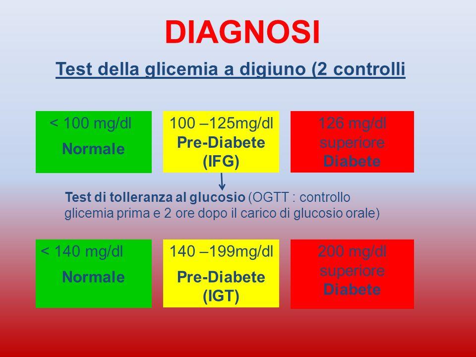 Diabete di tipo 1 Riduzione delle beta-cellule con deficienza assoluta di insulina (distruzione delle cellule del pancreas che producono linsulina) La causa principale sottostante è un disordine immunitario con autoanticorpi che attaccano le beta-cellule e che causa assoluta assenza di insulina Insorgenza precoce prima dei 35 anni, Sintomi rapidi e pronunciati: sete, poliuria (aumento diuresi), perdita di peso, astenia (stanchezza), coma diabetico (chetoacidosico) Terapia con insulina Bambino Giovane MAGRO