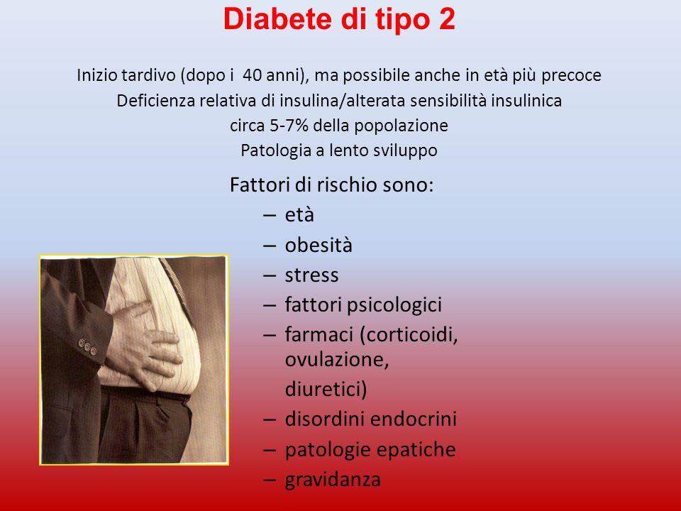 Diabete di tipo 2 Inizio tardivo (dopo i 40 anni), ma possibile anche in età più precoce Deficienza relativa di insulina/alterata sensibilità insulini