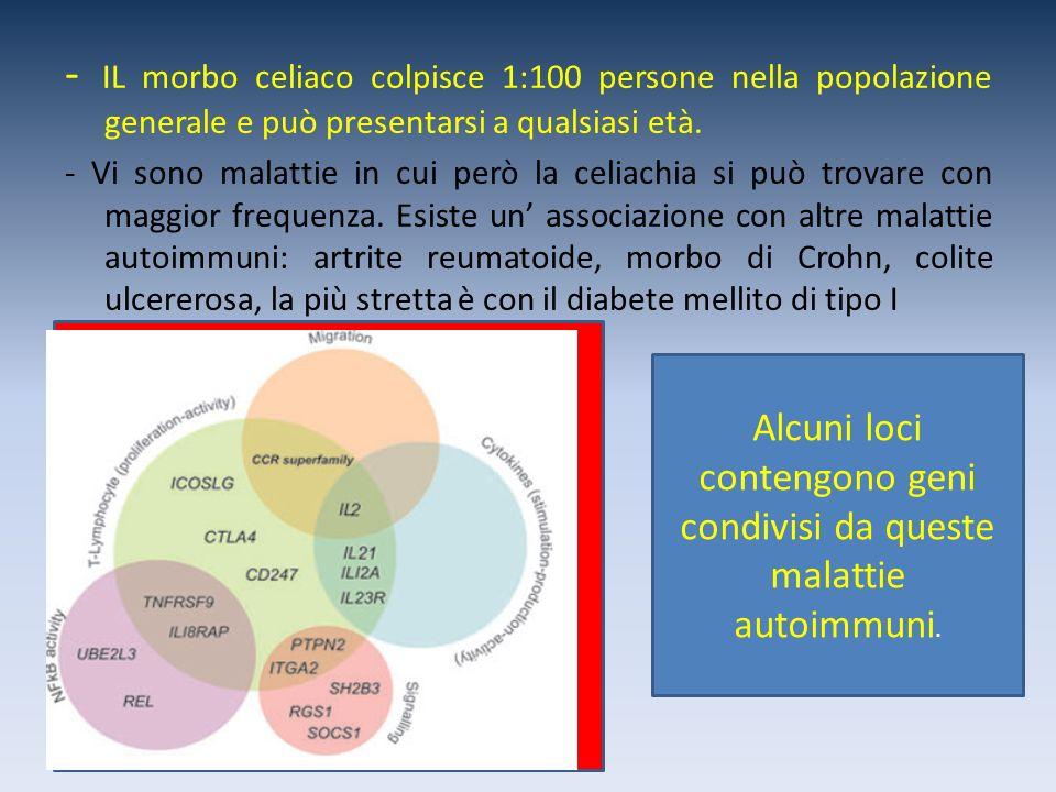 - IL morbo celiaco colpisce 1:100 persone nella popolazione generale e può presentarsi a qualsiasi età. - Vi sono malattie in cui però la celiachia si