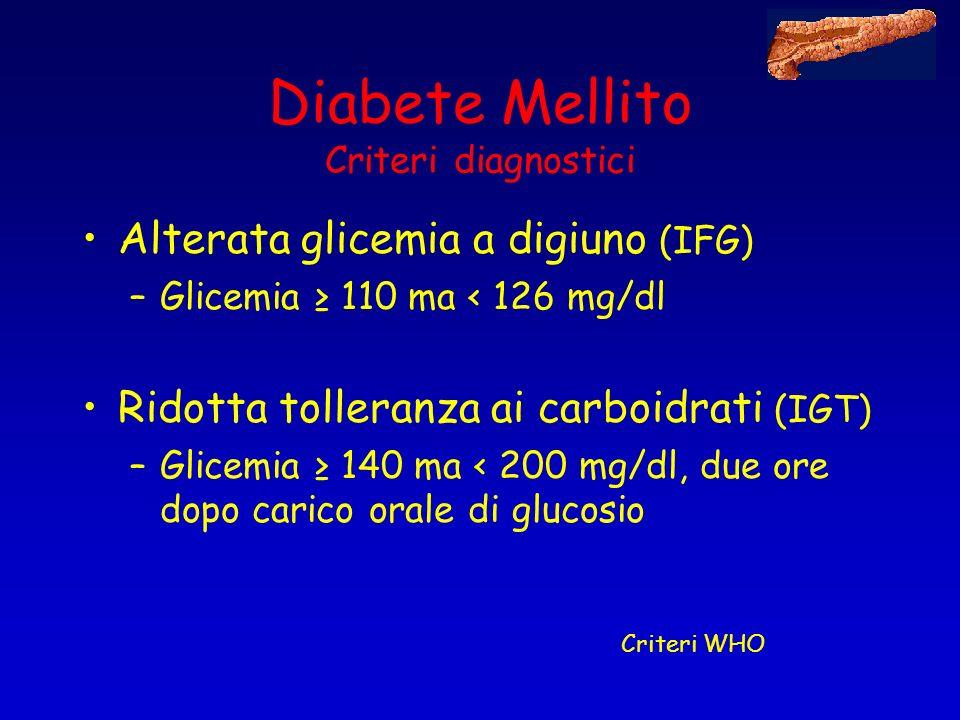 Diabete Mellito Criteri diagnostici Alterata glicemia a digiuno (IFG) –Glicemia 110 ma < 126 mg/dl Ridotta tolleranza ai carboidrati (IGT) –Glicemia 1