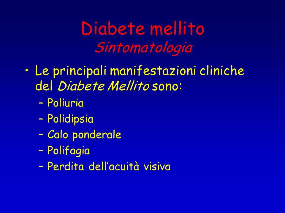 Diabete mellito Sintomatologia Le principali manifestazioni cliniche del Diabete Mellito sono: –Poliuria –Polidipsia –Calo ponderale –Polifagia –Perdi
