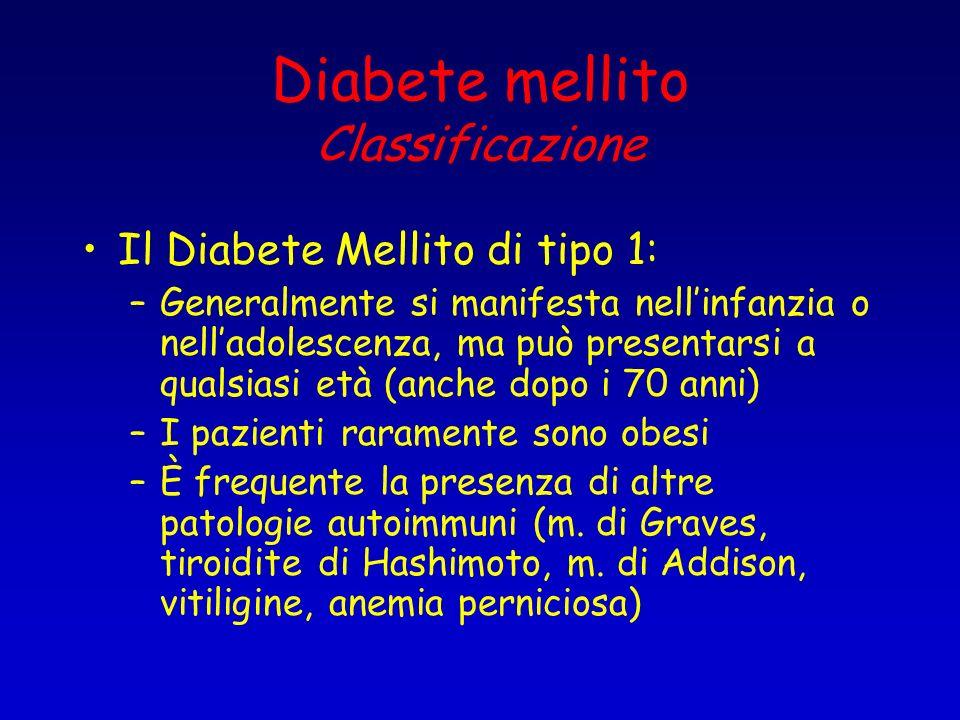 Diabete mellito Classificazione Il Diabete Mellito di tipo 1: –Generalmente si manifesta nellinfanzia o nelladolescenza, ma può presentarsi a qualsias