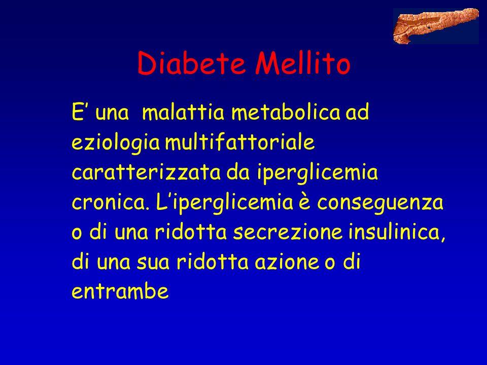 Diabete Mellito E una malattia metabolica ad eziologia multifattoriale caratterizzata da iperglicemia cronica. Liperglicemia è conseguenza o di una ri