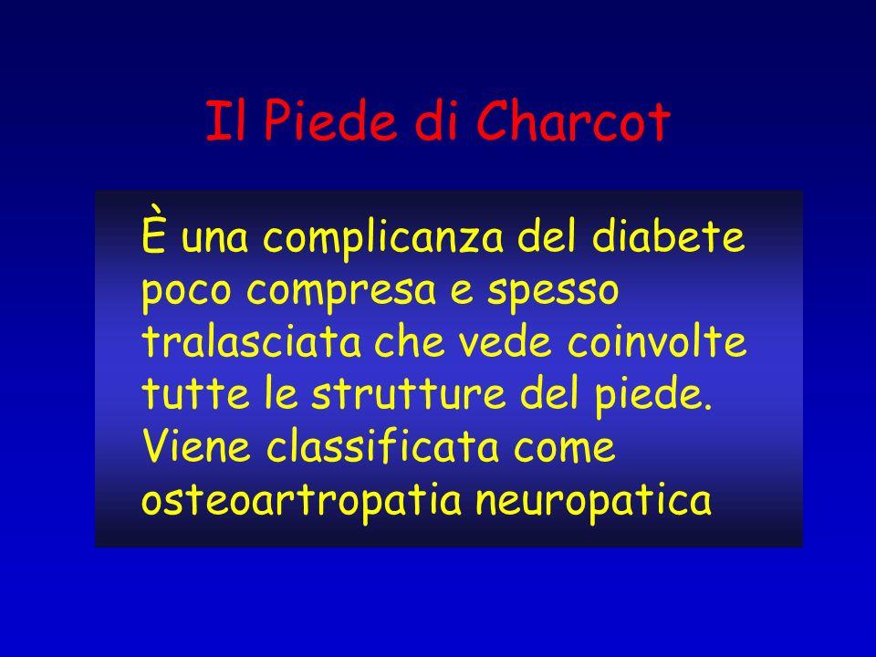È una complicanza del diabete poco compresa e spesso tralasciata che vede coinvolte tutte le strutture del piede. Viene classificata come osteoartropa