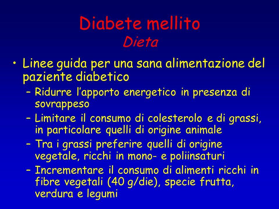 Diabete mellito Dieta Linee guida per una sana alimentazione del paziente diabetico –Ridurre lapporto energetico in presenza di sovrappeso –Limitare i
