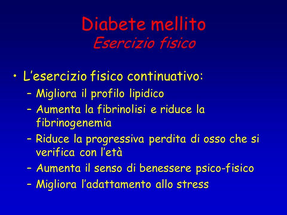 Diabete mellito Esercizio fisico Lesercizio fisico continuativo: –Migliora il profilo lipidico –Aumenta la fibrinolisi e riduce la fibrinogenemia –Rid