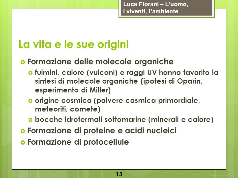 Luca Fiorani – Luomo, i viventi, lambiente La vita e le sue origini 13 Formazione delle molecole organiche fulmini, calore (vulcani) e raggi UV hanno