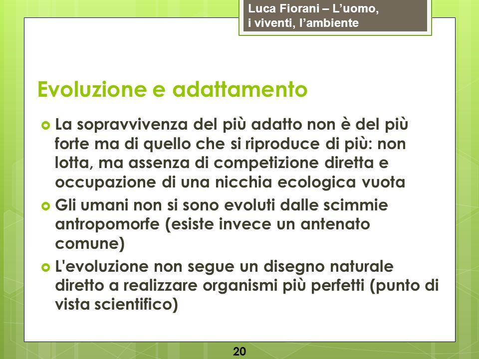 Luca Fiorani – Luomo, i viventi, lambiente Evoluzione e adattamento 20 La sopravvivenza del più adatto non è del più forte ma di quello che si riprodu