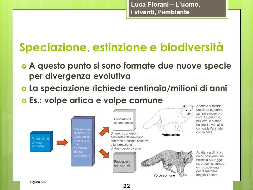 Luca Fiorani – Luomo, i viventi, lambiente Speciazione, estinzione e biodiversità 22 A questo punto si sono formate due nuove specie per divergenza ev