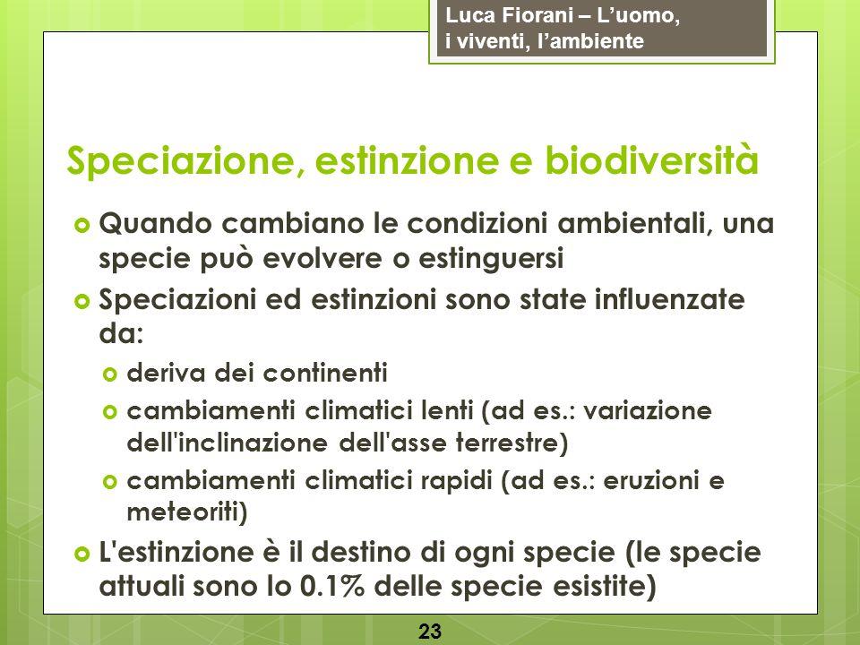 Luca Fiorani – Luomo, i viventi, lambiente Speciazione, estinzione e biodiversità 23 Quando cambiano le condizioni ambientali, una specie può evolvere