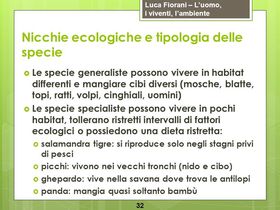 Luca Fiorani – Luomo, i viventi, lambiente Nicchie ecologiche e tipologia delle specie 32 Le specie generaliste possono vivere in habitat differenti e