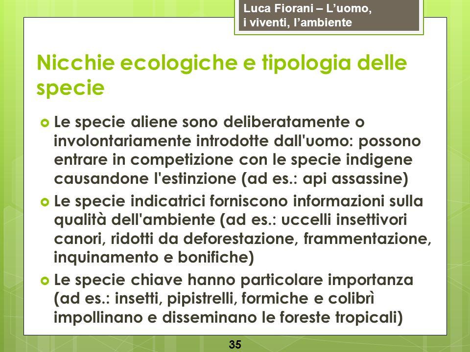 Luca Fiorani – Luomo, i viventi, lambiente Nicchie ecologiche e tipologia delle specie 35 Le specie aliene sono deliberatamente o involontariamente in