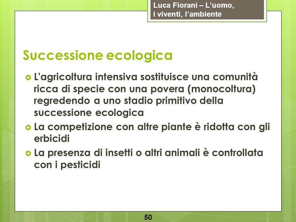 Luca Fiorani – Luomo, i viventi, lambiente Successione ecologica 50 L'agricoltura intensiva sostituisce una comunità ricca di specie con una povera (m