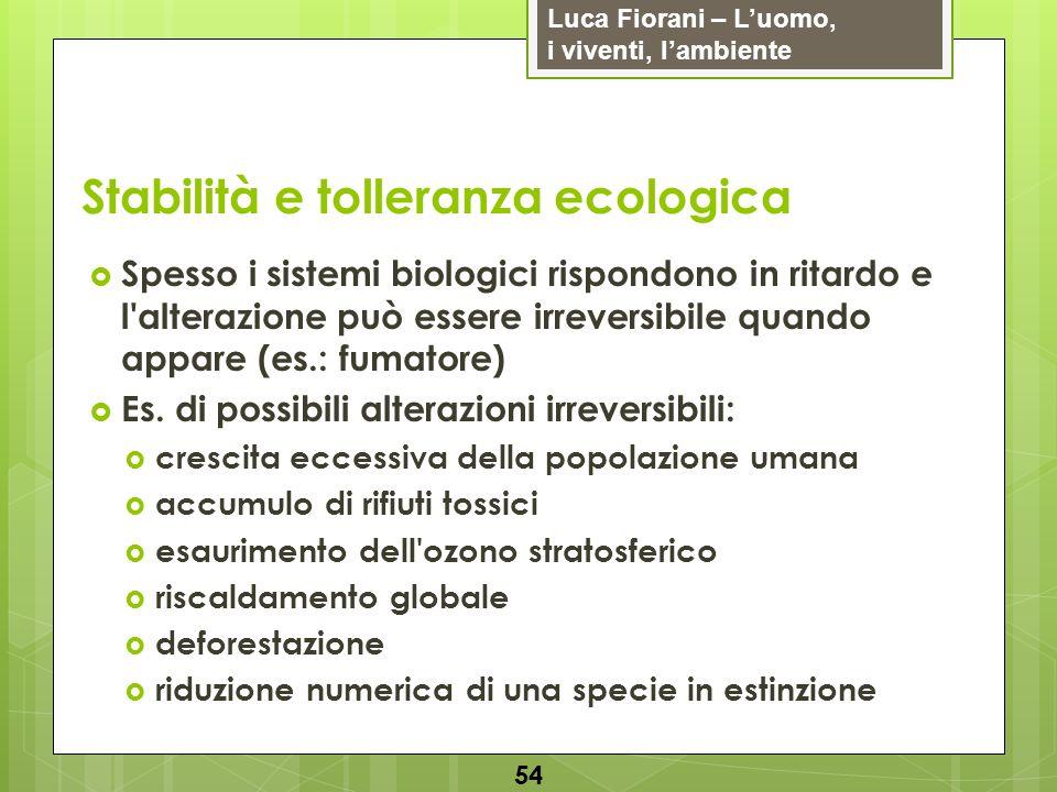 Luca Fiorani – Luomo, i viventi, lambiente Stabilità e tolleranza ecologica 54 Spesso i sistemi biologici rispondono in ritardo e l'alterazione può es