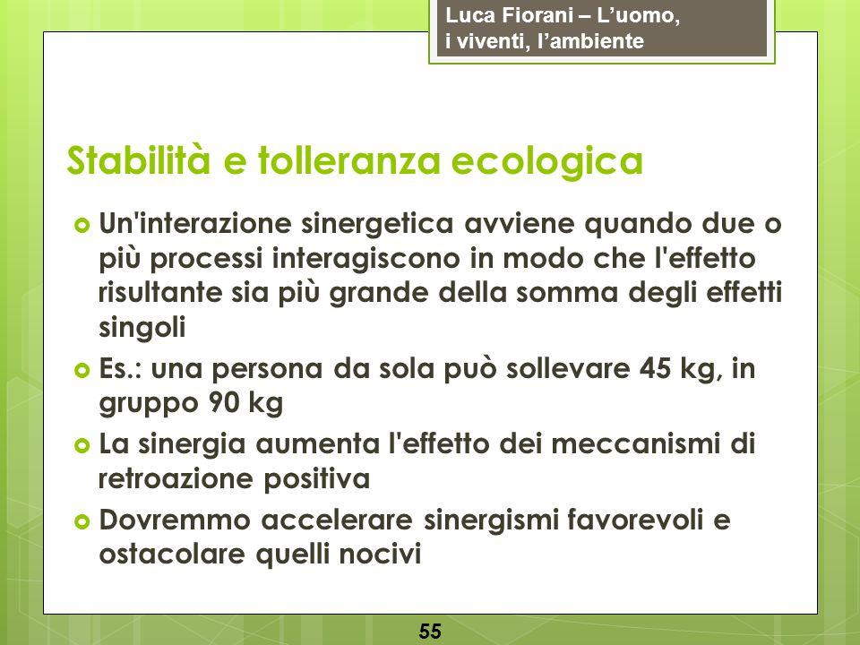 Luca Fiorani – Luomo, i viventi, lambiente Stabilità e tolleranza ecologica 55 Un'interazione sinergetica avviene quando due o più processi interagisc