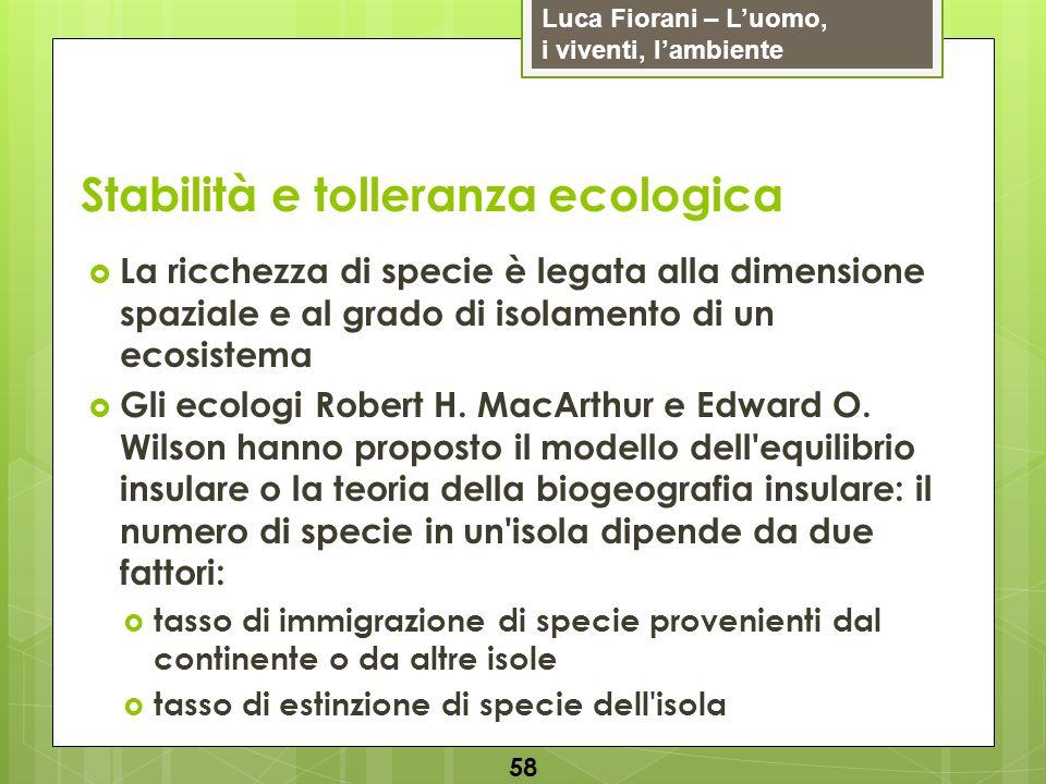Luca Fiorani – Luomo, i viventi, lambiente Stabilità e tolleranza ecologica 58 La ricchezza di specie è legata alla dimensione spaziale e al grado di